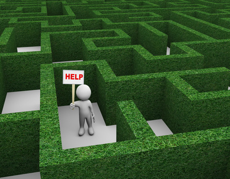 3d illustration of man holding word help banner in complicated puzzle hedge maze. 3d rendering of human people character.