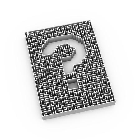 questionable: 3d illustration of complicated question mark symbol sign maze shape design