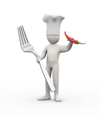 red pepper: 3d illustration of  man holding fork and red pepper chilli. 3d rendering of human people character