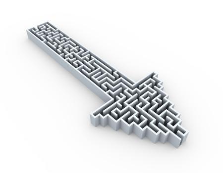 3D-afbeelding van doolhof puzzel doolhof gemaakt in pijlvorm