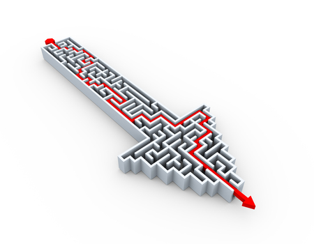 solved: 3d illustration of solved labyrinth puzzle maze created in arrow shape Stock Photo