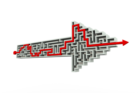 created: 3d perspective illustration of solved labyrinth puzzle maze created in arrow shape