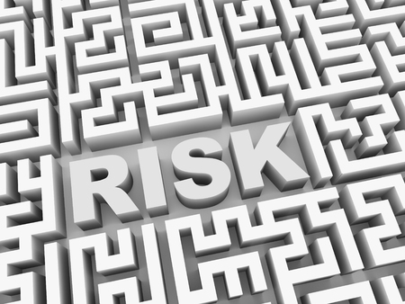 credit risk: 3d illustration of text word risk in complicated puzzle labyrinth maze