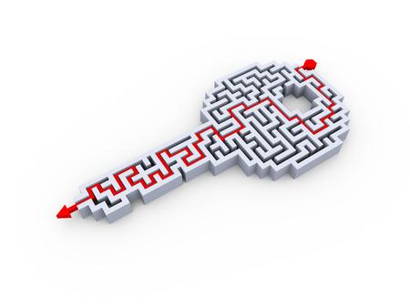 해결 키 모양 미로 퍼즐 미로의 3D 그림