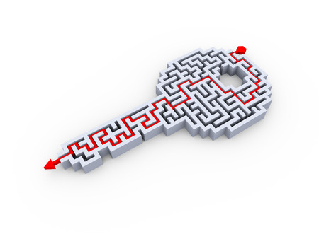 3d illustration of solved key shape labyrinth puzzle maze