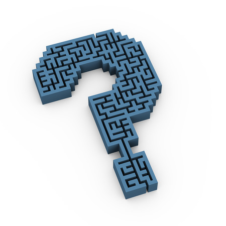 questionable: 3d illustration of question mark symbol sign maze