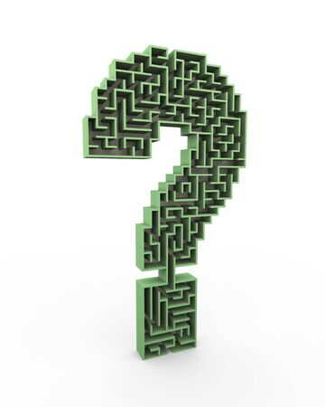questionable: 3d illustration of question mark shape maze symbol sign