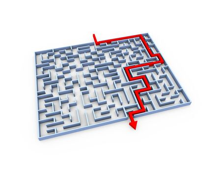 solved maze puzzle: 3d illustration of solved labyrinth maze puzzle