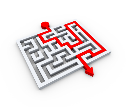 solved maze puzzle: 3d illustration of solved maze labyrinth puzzle Stock Photo