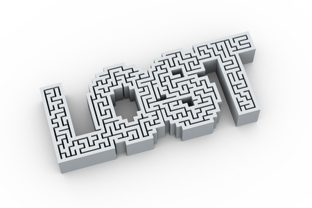 lost: 3d illustration of labyrinth maze puzzle word text lost