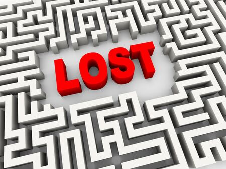 complex navigation: 3d illustration of text word lost in labyrinth puzzle maze Stock Photo