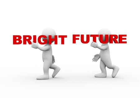bright future: 3d illustration of walking people carrying word text bright future on their shoulder.  3d rendering of man people character