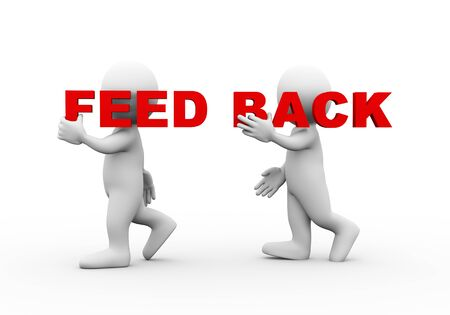 feed back: 3d illustration of walking people carrying word text feed back on their shoulder.  3d rendering of man people character Stock Photo