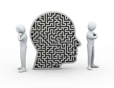 dispute: 3d illustration of man having conflict and dispute with another person and human maze puzzle head. 3d rendering of people - human character