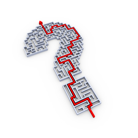 solved maze puzzle: 3d illustration of solved question mark symbol sign maze puzzle Stock Photo