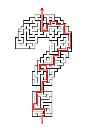 solved: Illustration of solved question mark symbol sign maze puzzle
