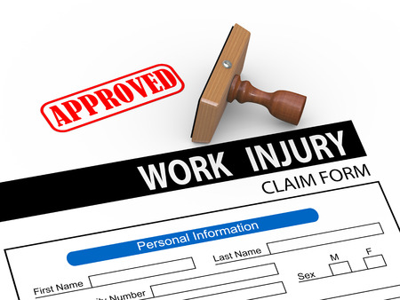 compensate: 3d illustration of rubber stamp and approve work injury claim form