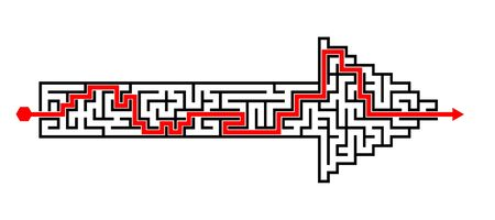solved: Illustration of solved labyrinth puzzle maze created in arrow shape Stock Photo