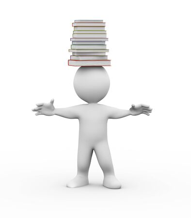 human head: 3d illustration of studen with pile of books on his head. 3d rendering of people - human character