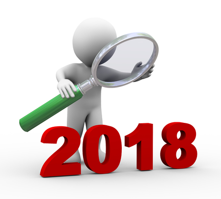 3d illustration of man holding magnifying glass looking at 2018.  3d rendering of human people character. Stock Photo