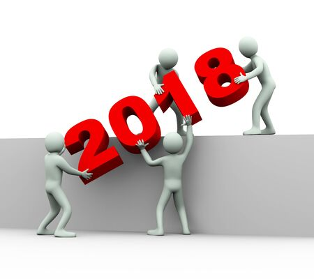 3d illustration of men placing year 2018. 3d rendering of human people character and team work