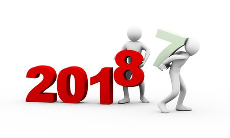 3d illustration of man taking away number 3 of year 2017 while another person completing year 2018. 3d rendering of human people character.