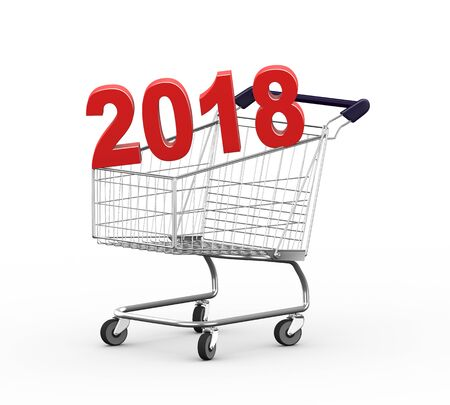 3d illustration of year 2018 metal shopping cart trolley