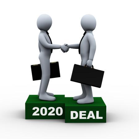 Illustration 3d d'un homme d'affaires serrant la main de son partenaire commercial 2020 accord important. rendu 3d du caractère humain d'homme d'affaires