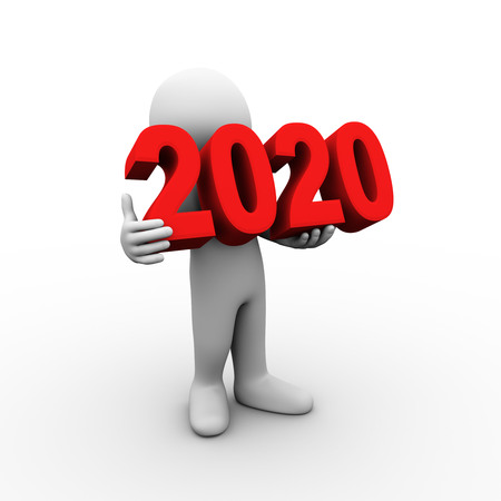 3d illustration of man holding text new year 2020. 3d rendering of human people character. Stok Fotoğraf - 117177590