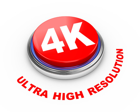 3d render of 4k ultra high resolution button presentation Stock Photo