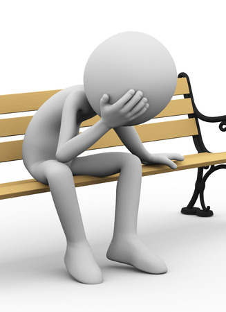 3d illustration of sad stressed sad person sitting on park bench. 3d rendering of people - human character