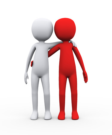 3d redering of friends together. 3d illustration of man person human character and friendship concept Stock fotó