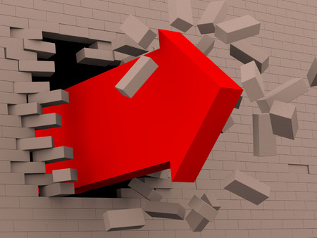 3d illustration render of powerful moving red arrow breaking bricks wall Reklamní fotografie