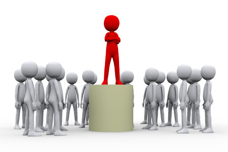 3d render illustration of posing leader boss on top with their followers and team workers Stok Fotoğraf