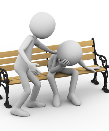 3d illustration of friend consoling support to sad stressed person. 3d rendering of people - human character.