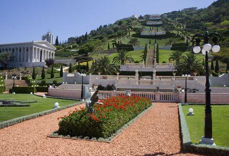 bahai: View of the beautiful Baha�i Gardens in Haifa, Israel