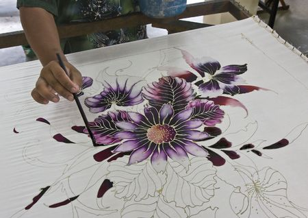batik motif: Hand painting batik in Malaysia Stock Photo