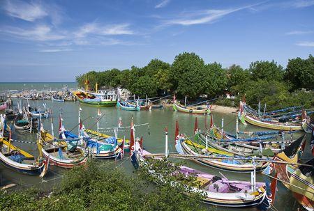 indonesia people: Pretty fishing boats in Madura Island, Indonesia Stock Photo