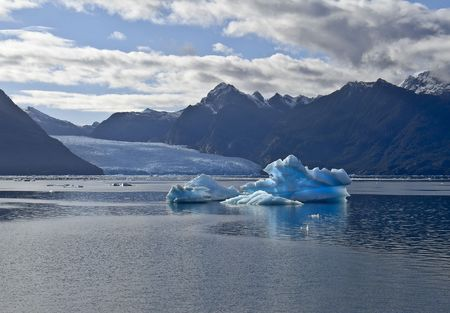Icebergs with San Rafael Glacier in the background. Patagonia, Chile