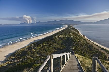 isthmus: Isthmus connecting North and South Bruny Islands in Tasmania, Australia Stock Photo