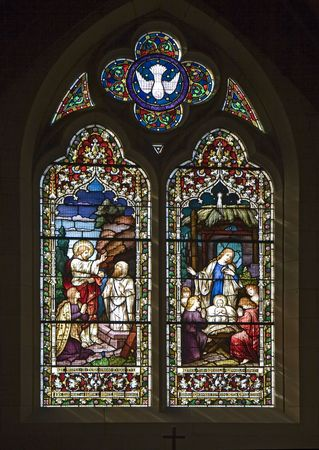 Stained glass windows representing the Nativity Scene - Christmas Stock Photo - 5769278
