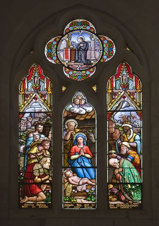 Stained glass windows representing the Nativity Scene - Christmas photo
