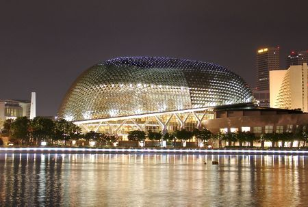 the Esplanade – Theatres on the Bay, in Singapore, by night