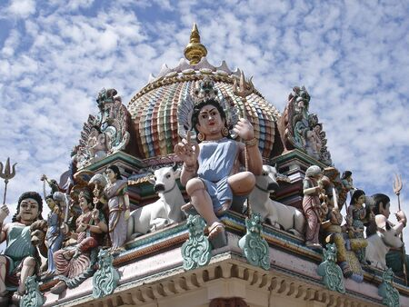 mariamman: Details of the decorations on the roof of the Sri Mariamman Hindu temple, Singapore Stock Photo