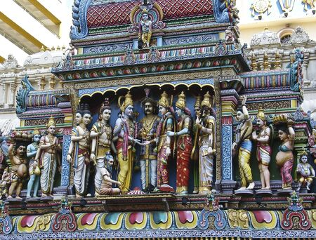 exclusively: Detail of the external decorations of Sri Krishna Temple in Singapore, dedicated exclusively to Sri Krishna and Rukmini