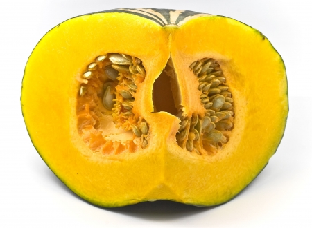 pumpkin seed: Pumpkin flesh and seeds Stock Photo