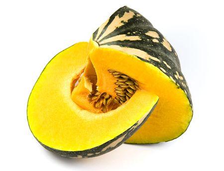 flesh: Pumpkin - Slice over flesh and seeds Stock Photo