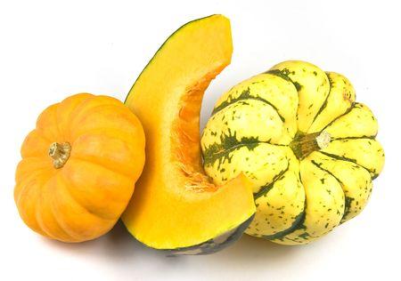 Three pumpkins on white photo