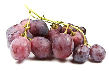 Red grapes isolated on white with shadow photo