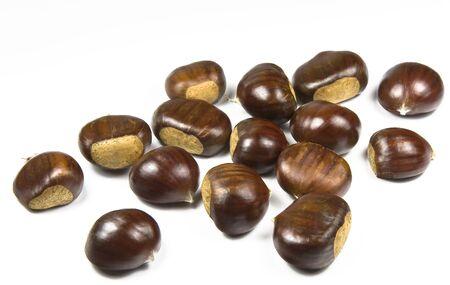 castanea sativa: Chestnuts (castanea sativa) on white background Stock Photo